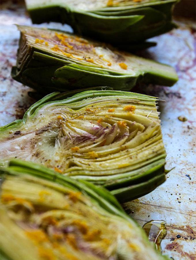 white wine and lemon roasted artichoke halves easy