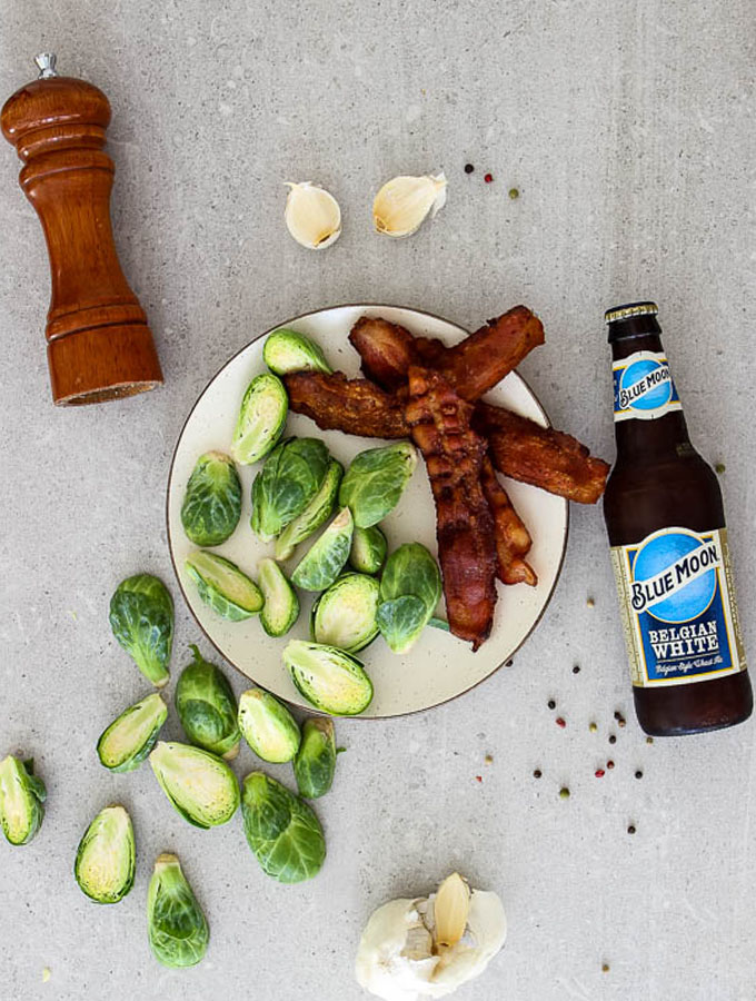 beer and bacon brussles sprout 4 ingredients overhead shot
