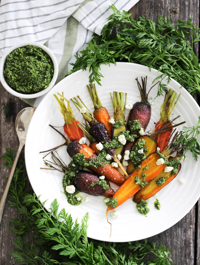 carrot top pesto over roasted carrots