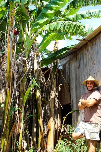 Stewart Perkins with Nature Nine Farmsposing against banana trees.