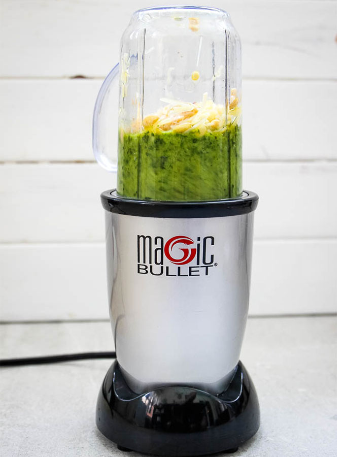 Fresh Pesto sauce is easily made by combining all the ingredients in a blender and blending until smooth.