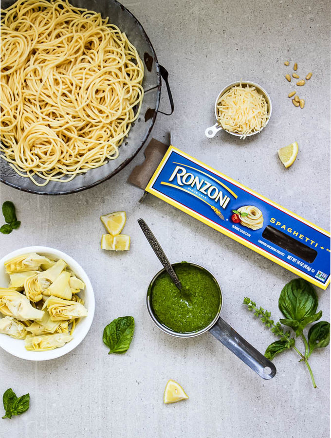 Pesto Pasta with Artichoke Hearts is an easy meal using only a few simple ingredients and twenty minutes!
