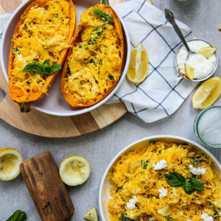 lemon ricotta spaghetti squash displayed on a table