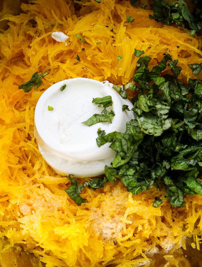 lemon ricotta spaghetti squash ingredients prepared.