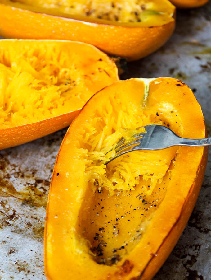 fork tender spaghetti squash is easy to make noodles with!