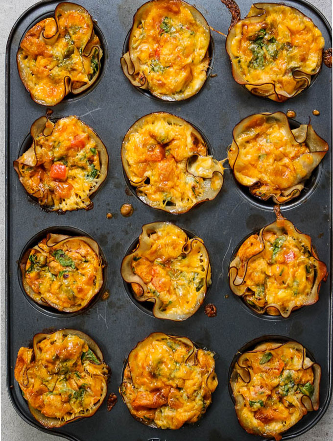 Turkey, egg and cheese breakfast muffin cups are easily cooked in a muffin tin.