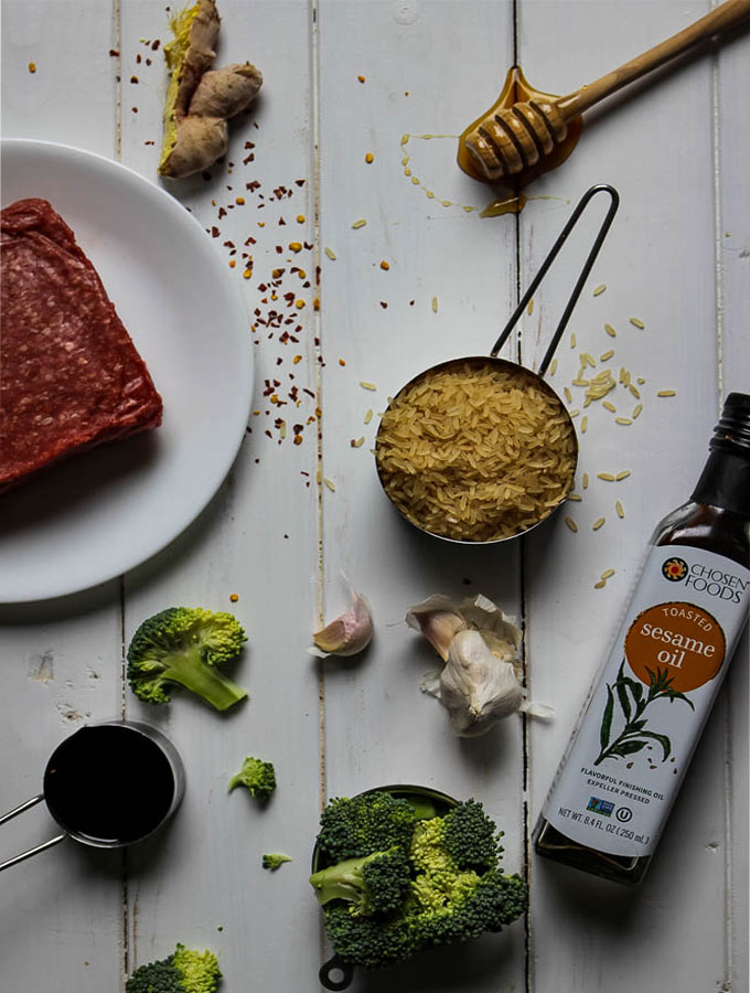 Easy Korean Beef and Broccoli ingredients consists of soy sauce, sesame seed oil,  garlic, ginger, ground beef, honey, broccoli, and rice.