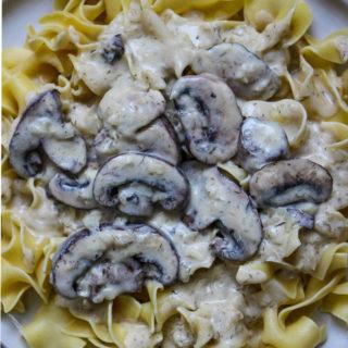 Vegetarian Mushroom Stroganoff is served over fresh egg noodles.