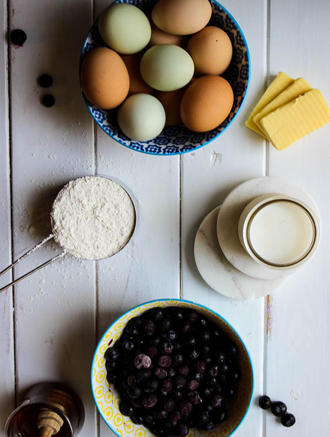 Mini pancake ingredients include eggs, butter, flour, milk, honey, bueberries, and a few other staples.