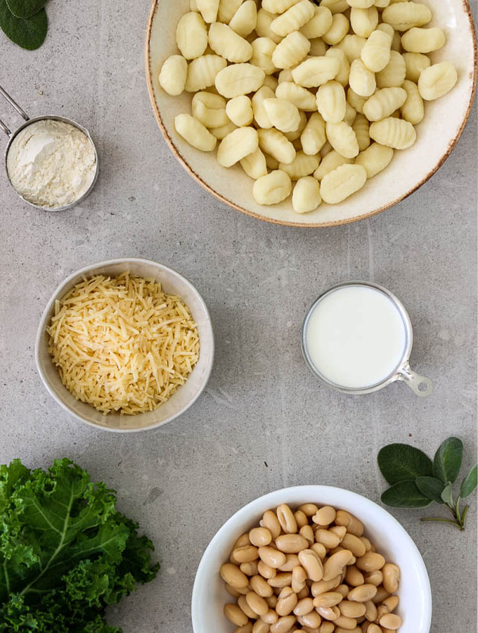one pot gnocchi with parmesan cream sauce ingredients are gnocchi, parmesan cheese, kale, while beans, sage, flour, butter, and heavy cream.