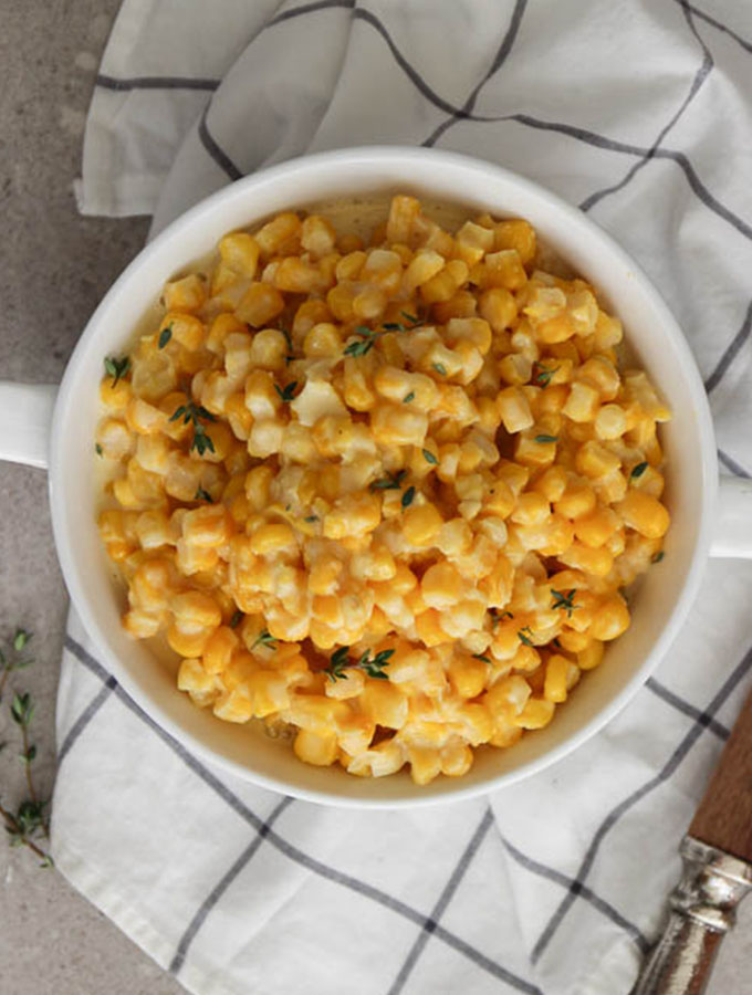 Creamed corn is lightly glazed with cream for a silky and delectable flavor.