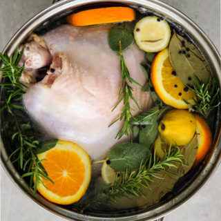 Turkey brine is put together in one huge pot so the turkey can sit in it for up to 24 hours.