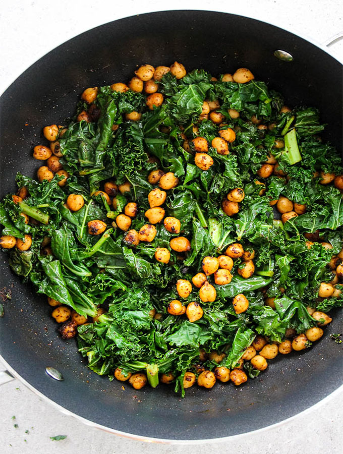 Smoky chickpea and kale rice bowl is made easily in a stir fry pan.