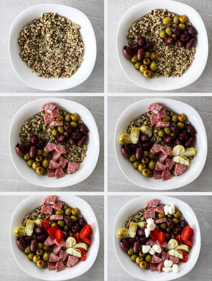 Antipasto Quinoa Salad is broken into 6 steps to build the quinoa bowl.