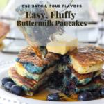 Fluffy Buttermilk Pancakes 4 Ways Pinterest graphic