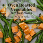 Pinterest graphic for oven roasted vegetables.