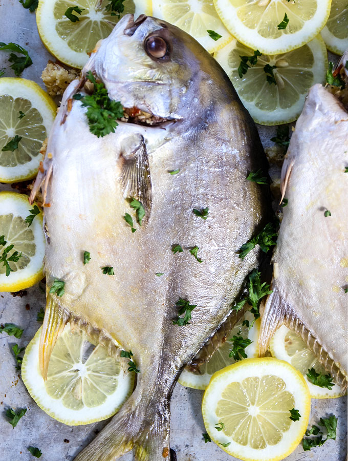 Pompano fish is plated over fresh lemons and parsely.