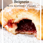 Raspberry filled beignet pinterest graphic.