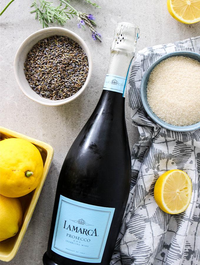 Lavender Lemonade Mimosas ingredients are displayed individually.