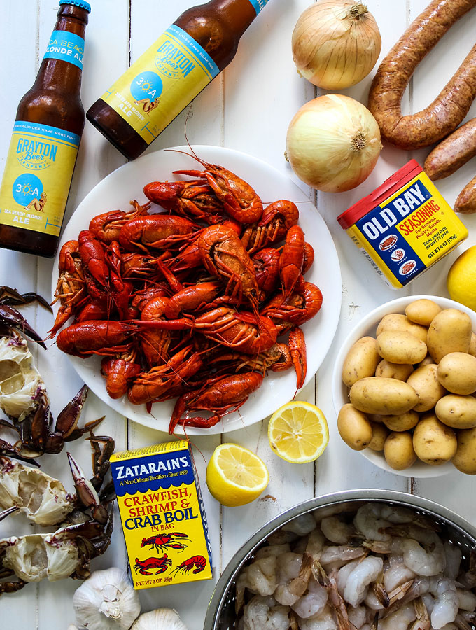 Low country boil ingredients are displayed individually.