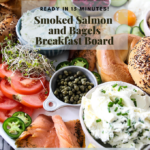 Pinterest graphic for lox and bagels breakfast board.