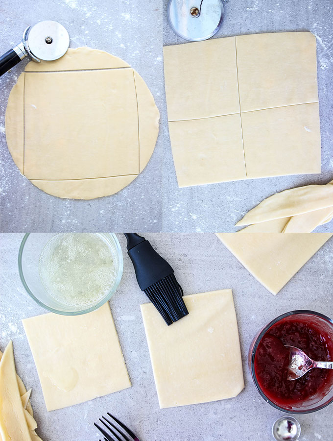 Steps on how to cut a square into a circular roll of pie crust.
