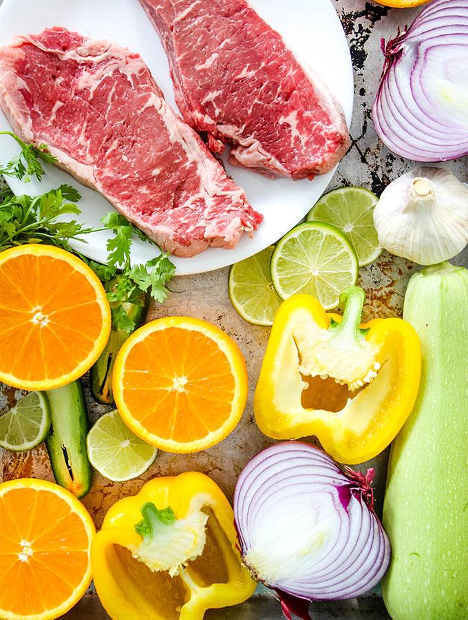 Grilled Carne Asada Kabobs ingredients are displayed individually.