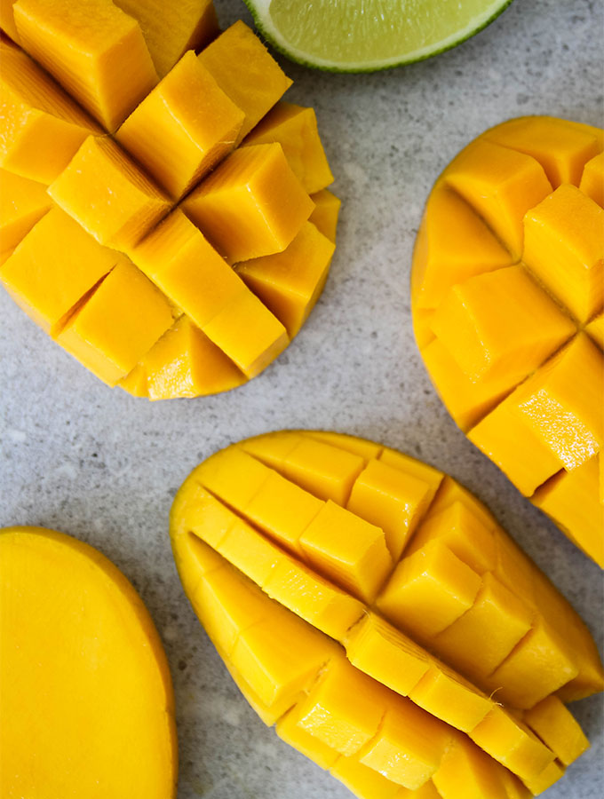 Mangos are diced and pushed inside out, the easiest way to eat a mango.