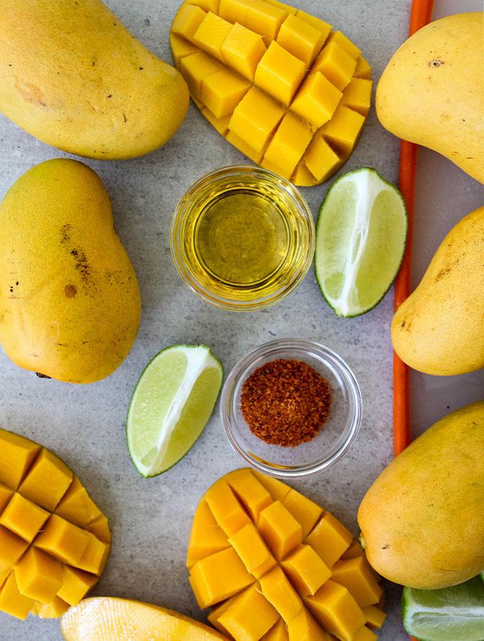 Mango Tajin paleta ingredients are displayed individually.