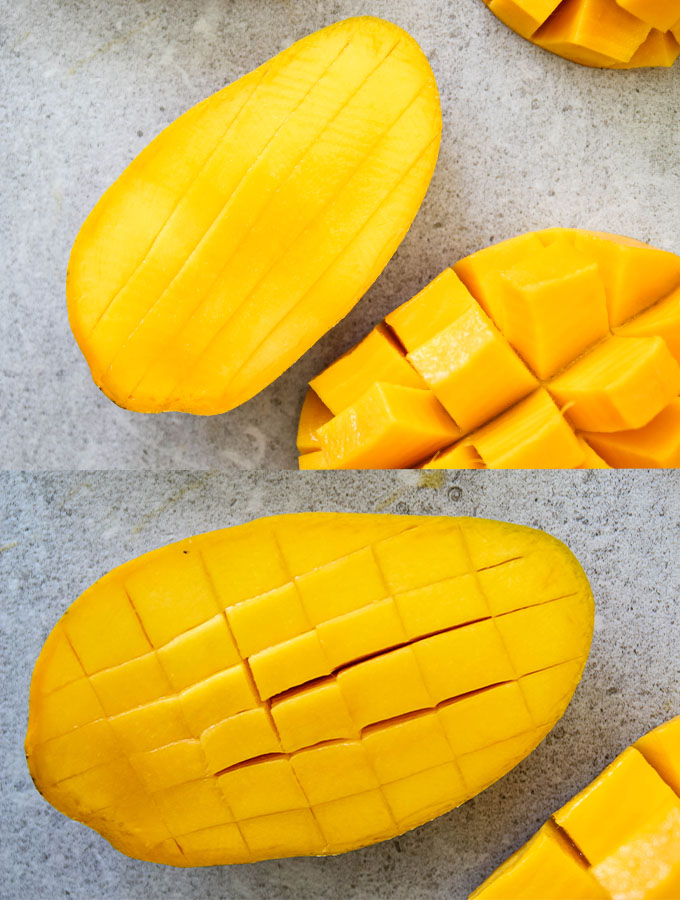 Diagram to show how to horizontally and vertically dice a mango.