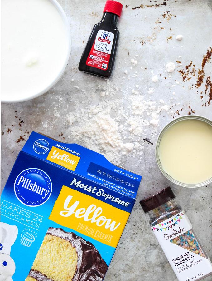 No Churn Cake Batter Ice Cream ingredients are displayed individually.