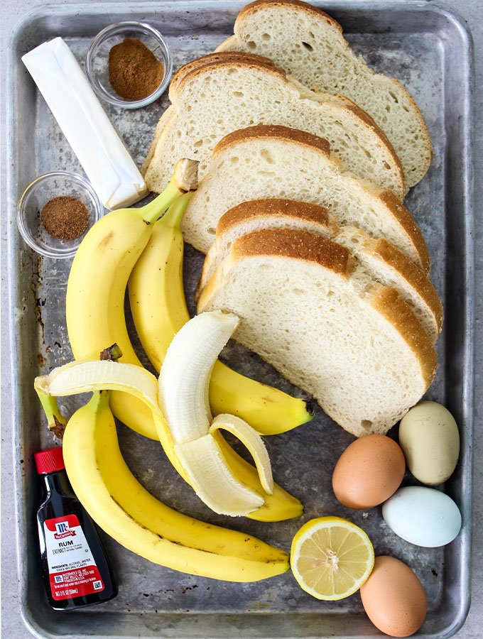 Banana Foster French Toast ingredients are displayed individually.