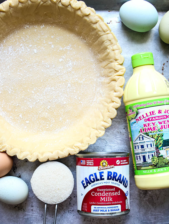 Authentic Key Lime Pie with Meringue ingredients are displayed individually.
