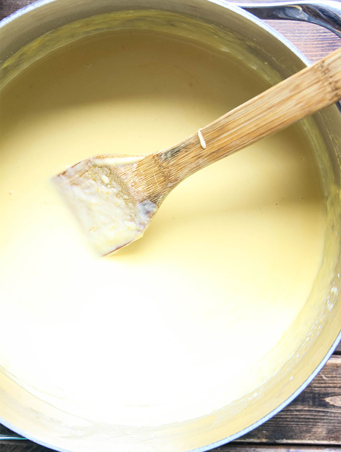 The two cheddar cheese sauce is made in one pot with butter and flour.
