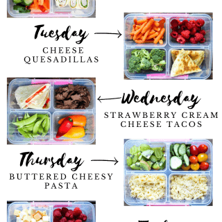 A week's worth of school lunches is compiled into a graphic list.