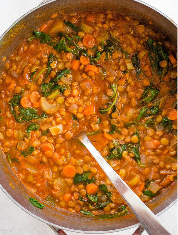 Lentil soup is made in one large soup pot and is very hearty.