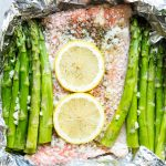 The salmon and asparagus is cooked in foil so it is juicy, flavorful, and delicious.