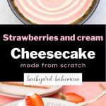 Strawberries and Cream Cheesecake Pinterest image.