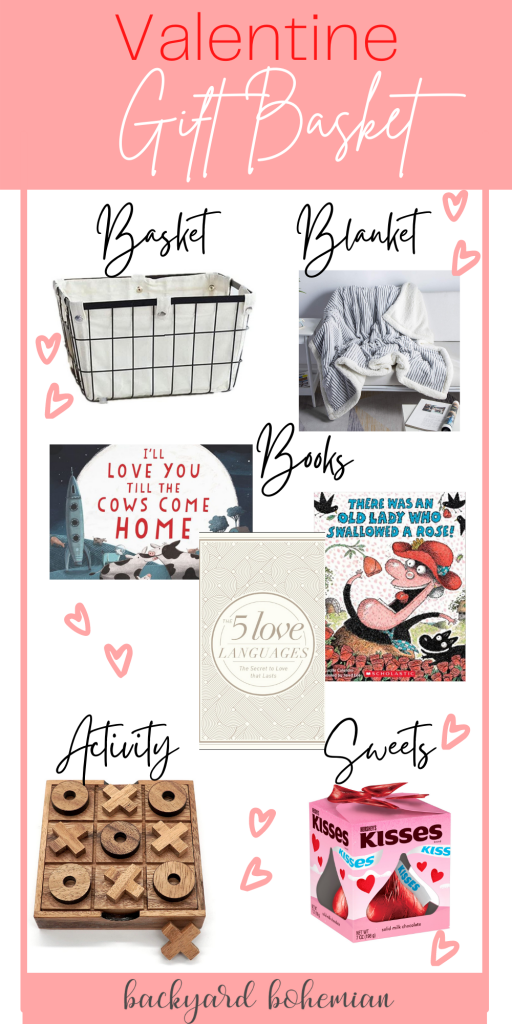Pinterest graphic for Valentine's Day gift basket guide.