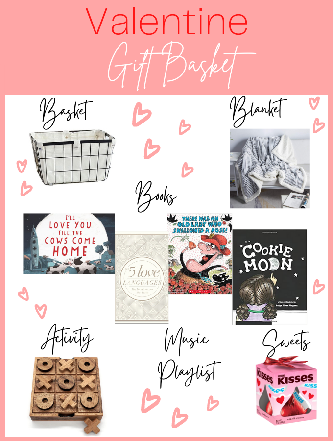 Valentine's day gift basket is made in four simple steps like basket, blanket, book, and activity.