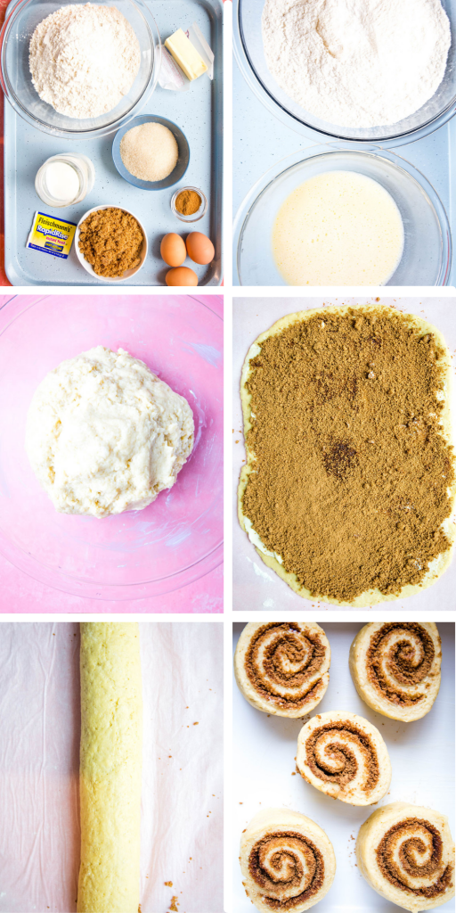 Cinnamon rolls are broken down into 6 simple steps.