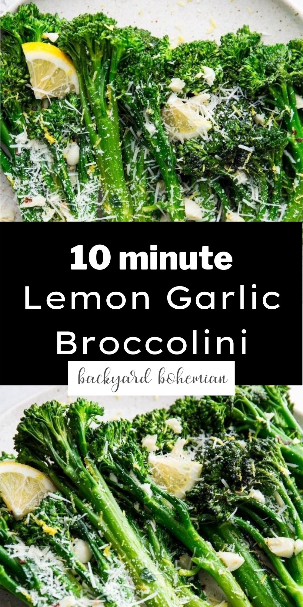 Lemon garlic broccolini Pinterest graphic. via @foodhussy