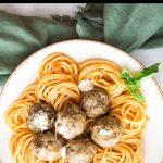 Baked Mozzarella Stuffed Meatballs Pinterest graphic.