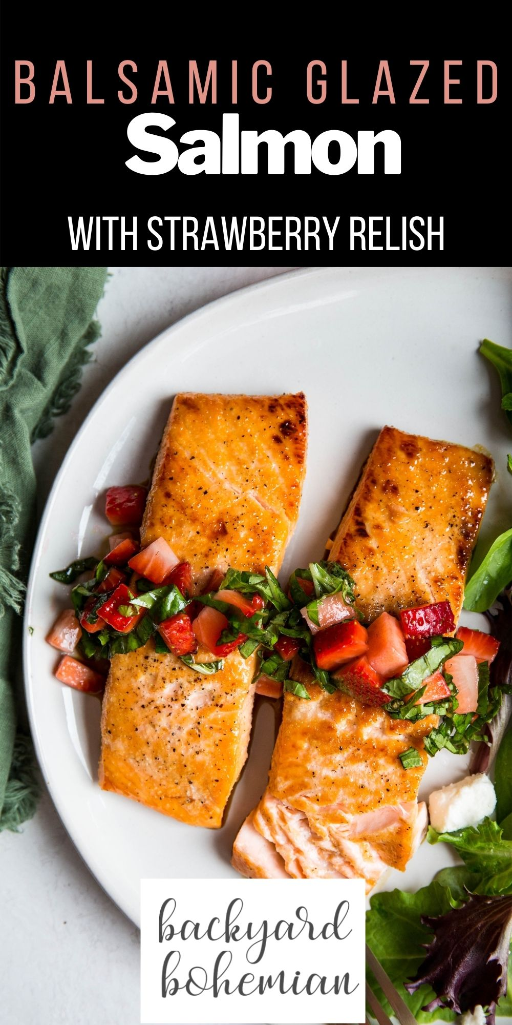 Honey Balsamic Glazed Salmon With Strawberry Relish is packed with fresh flavors and is such an easy 30 minute meal! The salmon filets are perfectly seared to juicy, tender perfection. This easy salmon recipe will have you hooked! via @foodhussy