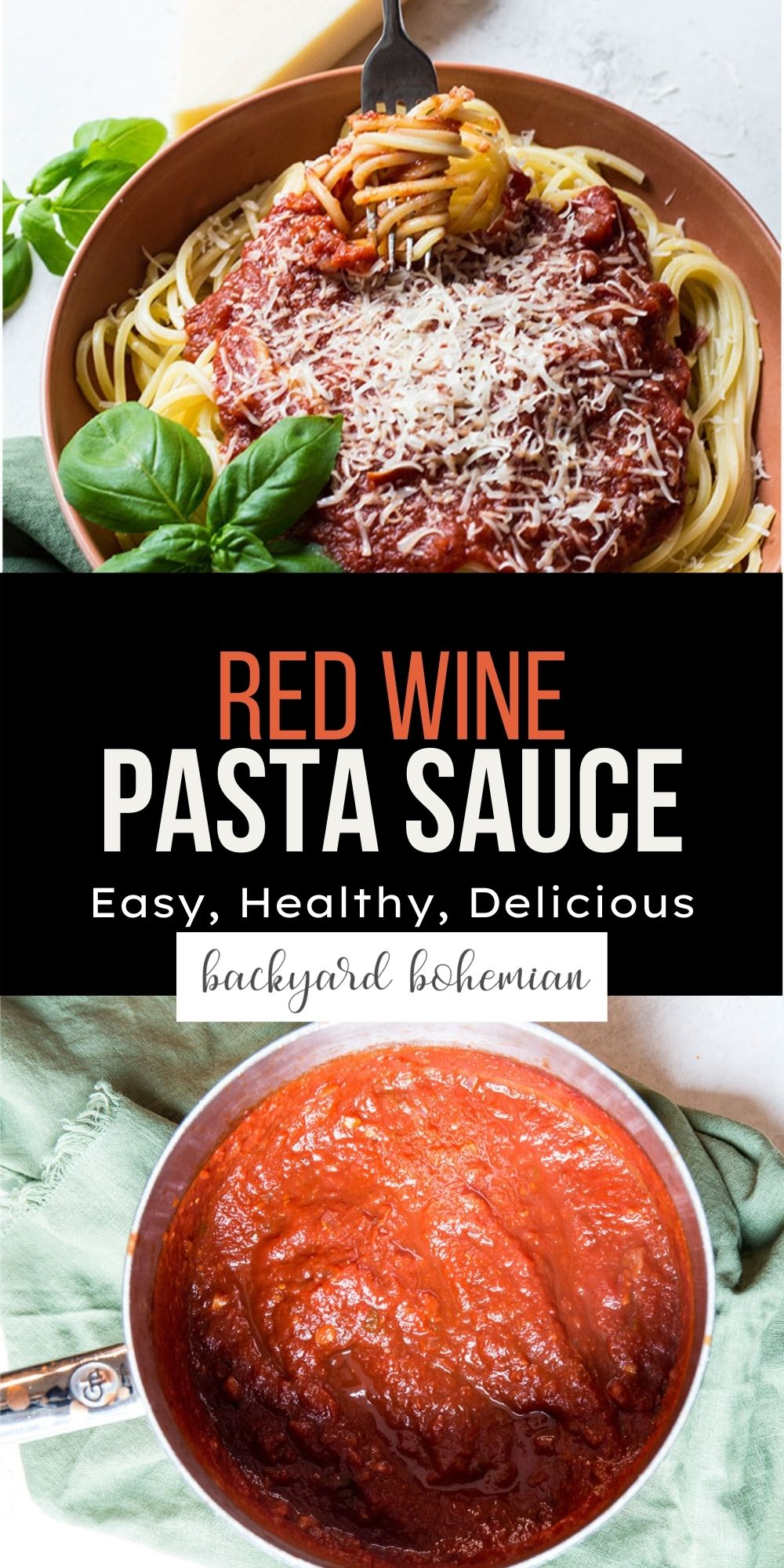 Red wine pasta sauce is ready 30 minutes! Dry red wine, crushed tomatoes, and fresh herbs make this pasta sauce healthy and delicious! via @foodhussy