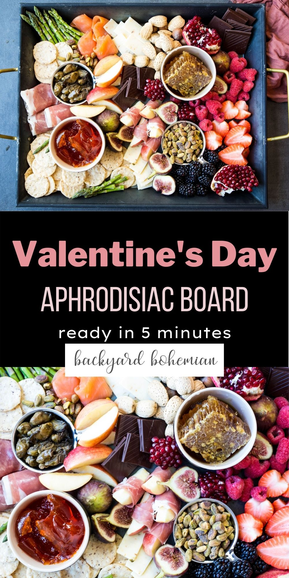 Aphrodisiac Charcuterie Board is made with salty and sweet ingredients and makes for a great at-home date idea! This fun charcuterie board is ready in minutes and is loaded with all the best ingredients! via @foodhussy