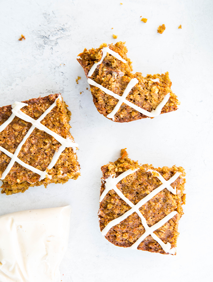 A bite is taken out of a sliced Carrot cake breakfast bar.