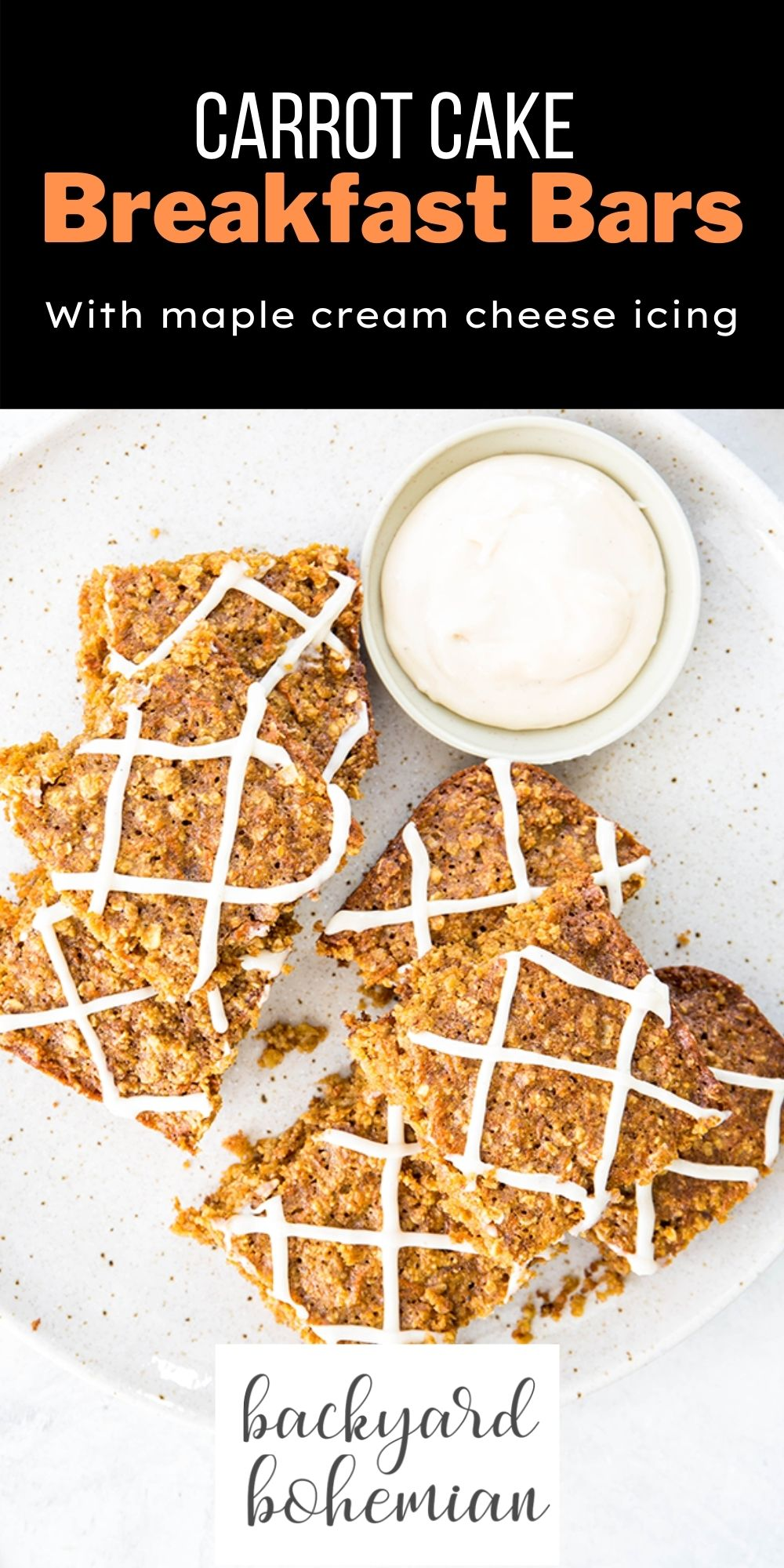 These gluten free carrot cake breakfast bars are made with freshly grated carrot, cinnamon, nutmeg, and oat flour for a tasty on the go breakfast. The maple cream cheese icing is literally the icing on the cake! via @foodhussy