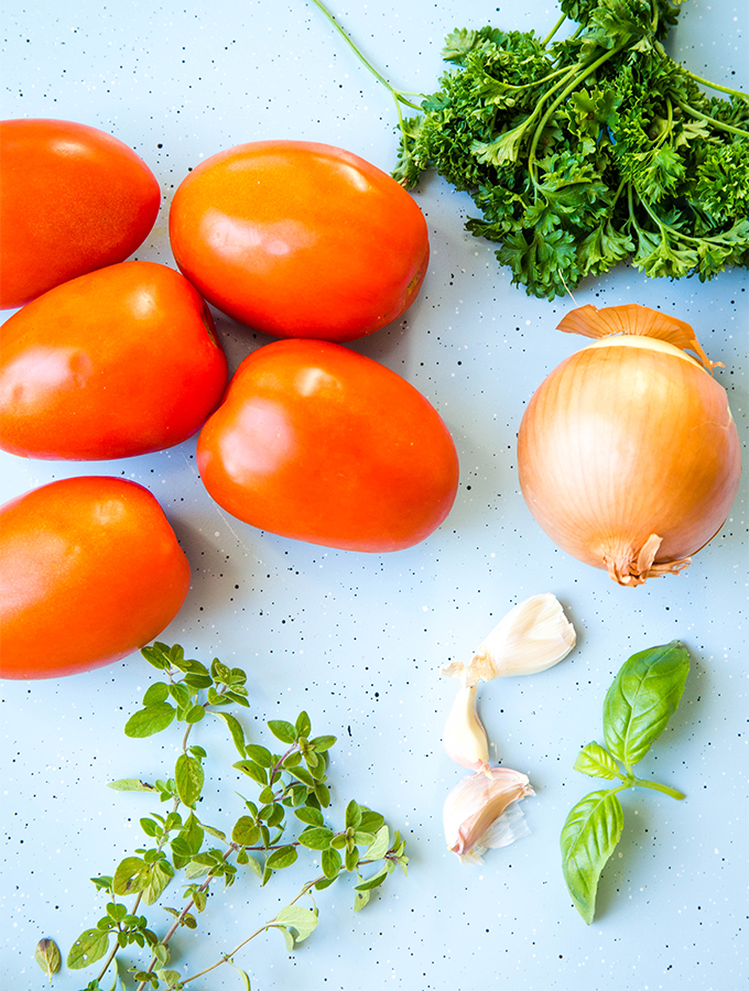 Pomodoro sauce ingredients include tomatoes, onion, garlic, and fresh herbs.