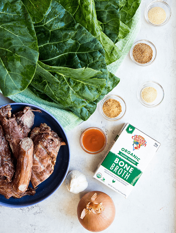 Southern collard greens are made with turkey necks, onion, garlic, and some seasonings.
